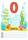 Printable worksheet for kindergarten and preschool. We train to write numbers. Mathe exercises. Bright figures on a marine backgro Royalty Free Stock Photography