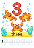 Printable worksheet for kindergarten and preschool. We train to write numbers. Mathe exercises. Bright figures on a marine backgro. Printable worksheet for Stock Photography
