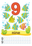 Printable worksheet for kindergarten and preschool. We train to write numbers. Mathe exercises. Bright figures on a marine backgro. Printable worksheet for Stock Image