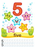 Printable worksheet for kindergarten and preschool. We train to write numbers. Mathe exercises. Bright figures on a marine backgro. Printable worksheet for Stock Photo