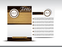 Printabstract brochure design with wood effect Royalty Free Stock Photos
