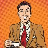 Printavatar portrait of man drinking coffee stock illustration