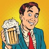 Printavatar portrait man with a mug of foaming beer. Pop art retro vector illustration Stock Photo