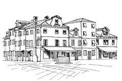 PrintBurano-Insel, Venedig, Italien stock abbildung
