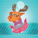 PrintChristmas deer in hipster glasses Royalty Free Stock Photography