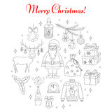 PrintChristmas and New Year holiday line icons set Royalty Free Stock Photos