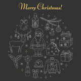 PrintChristmas and New Year holiday line icons set Royalty Free Stock Images