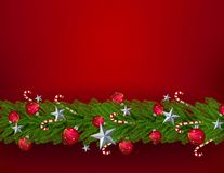 PrintChristmasbladeren met een realistische Kerstboombevloering op een rode achtergrond De ster, bal, perfectioneert voor woord stock illustratie