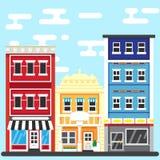 PrintCitystraat Bouw Vectorillustratie Royalty-vrije Stock Afbeelding
