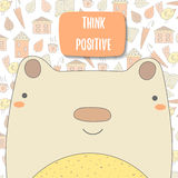 PrintCute doodle background, brochure, cover with bear Royalty Free Stock Photo