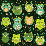 Cute forest owls vector seamless pattern. Hand drawn lovely birds background in colors of green Royalty Free Stock Photo