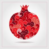 PrintDecorative ornamental pomegranate made of swirl doodles. Vector abstract illustration of fruit logo for branding, poster or p. Decorative ornamental Royalty Free Stock Image