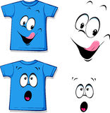 Printed blue T-shirt - funny face - vector Stock Photos