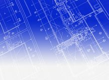 Printed Blueprint. A blueprint with black ink Royalty Free Stock Images