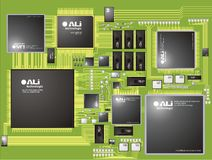 Printed circuit. Integrated electronic printed circuit planted with integrated circuits and other electronic components Stock Photos