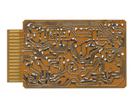 Printed circuit. Isolated computer printed circuit board Royalty Free Stock Images