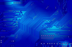 Printed circuit in blue. Image of the printed circuit - motherboard - technology abstract Royalty Free Stock Image