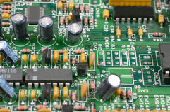 Printed circuit board. With electronic chips Royalty Free Stock Images