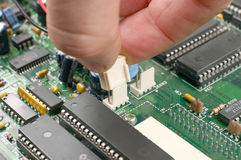Printed circuit board. With electronic chips Royalty Free Stock Photos
