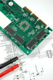 Printed circuit board. And electronic scheme Royalty Free Stock Photo