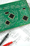 Printed circuit board. And electronic scheme Royalty Free Stock Images