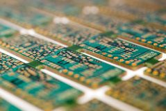 Printed Circuit Board. S still connected as they would be during manufacture Stock Photography