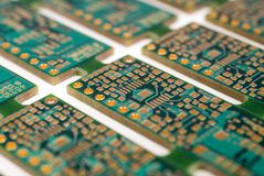 Printed Circuit Board. S still connected as they would be during manufacture Stock Images