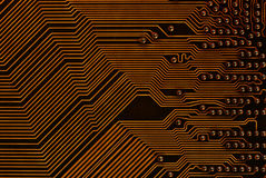 Printed-circuit board. Paths on the printed-circuit board of computer motherboard Royalty Free Stock Photo