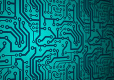 Printed circuit board. Illustration of a green printed circuit board Stock Photo