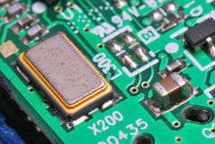 Printed Circuit Board. A closeup photo taken on a printed circuit board assembly populated with electronic components royalty free stock image