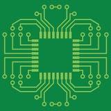 Printed Circuit Board. Illustration of Green Seamless Printed Circuit Board Royalty Free Stock Photos