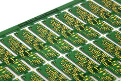 Printed Circuit Board. Close up detail of a Printed Circuit Board on a white background Stock Photos