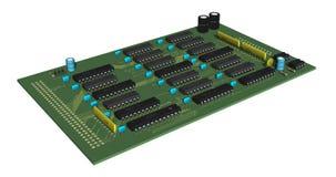 Printed circuit board, 3d rendering. 3d rendering of an electronics printed circuit board Royalty Free Stock Photography