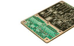 Printed circuit board. Without components - unstuffed royalty free stock photos