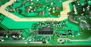 Printed circuit board. PCB with several SMD elements Royalty Free Stock Photos