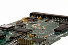 Printed circuit board. With microchips Stock Images