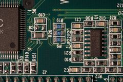 Printed circuit board. Macro Royalty Free Stock Photography