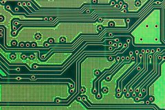 Printed circuit board. Green printed circuit board close-up royalty free stock photos