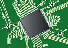 Printed circuit board. Vector illustration of a fictive printed board circuit Stock Image