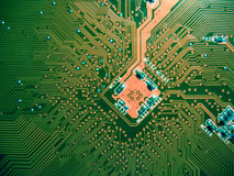 Printed circuit board. Macro of printed circuit board - computer motherboard Stock Photo