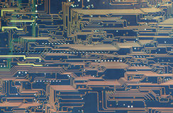 Printed circuit board back side. Back sideof electronic board with conductor lines stock illustration