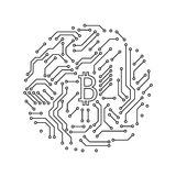 Printed circuit board black and white bitcoin round shape symbol computer technology, vector Royalty Free Stock Photo