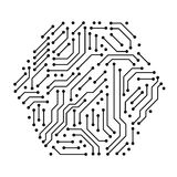 Printed circuit board black and white computer technology elements in a shape of a hex, vector Stock Photos