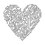 Printed circuit board black and white heart shape computer technology, vector stock illustration