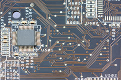 Printed circuit board. With chip Royalty Free Stock Photo