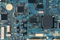 Printed circuit board with a chip royalty free stock photos