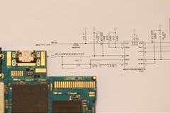 Printed circuit board,circuit diagram,software Stock Image