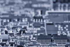 Printed circuit board close up for background Toned image royalty free stock photo