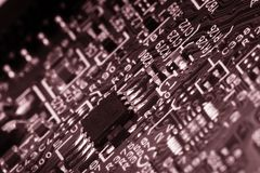 Printed circuit board close up for background Toned image royalty free stock photography