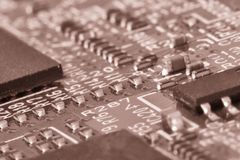Printed circuit board close up for background Toned image royalty free stock images